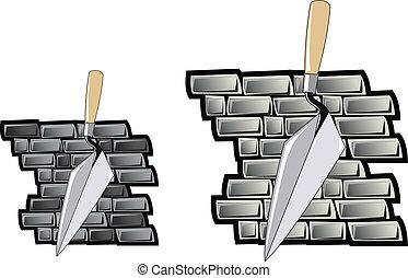 壁, れんが, トロール網