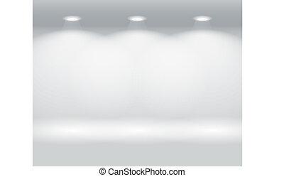 壁, パネル, 照らされた, カラフルである