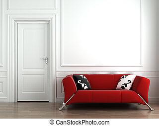 壁, 内部, 白い赤, ソファー