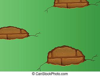 壁, 割れる, 緑