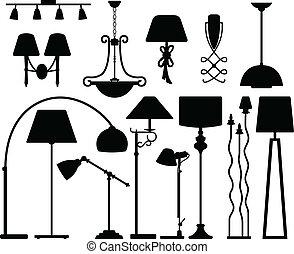 壁, 天井, デザイン, ランプ, 床