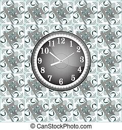 壁, 現代, グランジ, 背景, 時計