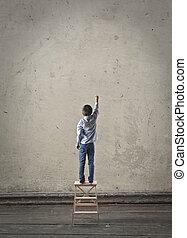 壁, 男の子