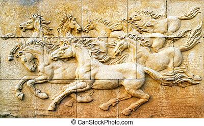 壁, 石, 彫刻, 馬