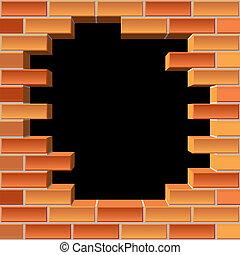 壁, 穴, れんが