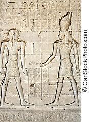 壁, 象形文字, karnak, 古代, 寺院