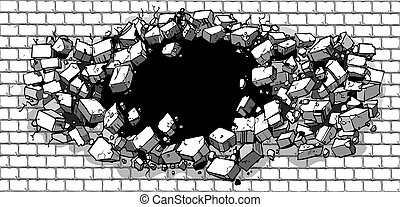 壊れる, 壁, れんが, 穴, によって