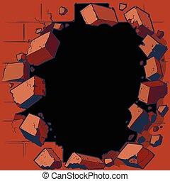 壊れる, 壁, れんが, 赤, から, 穴