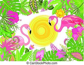 夏である, 花, フラミンゴ, 休日, 背景, ピンク, エキゾチック, 太陽