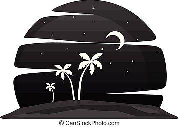 夏季休暇, 浜, 夜, 光景