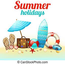 夏季休暇, 背景, ポスター
