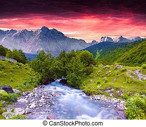 夏, カラフルである, 巨大, 日没, 川, 山。, 風景