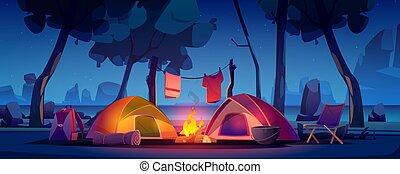 夏, キャンプファイヤー, 湖, テント, キャンプ