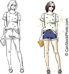 夏, ファッション, 見なさい, イラスト, ベクトル, 偶然