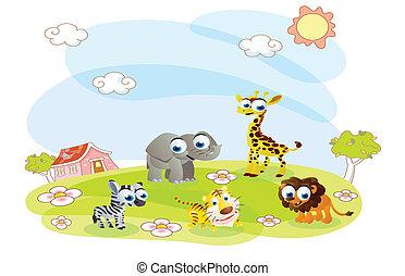夏, 動物, 漫画