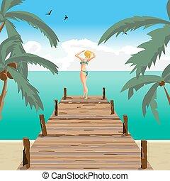 夏, 古い, 浜, 女, 海, ブロンド, 風景, 地位, pier., 服を着せられる, 上げること, 平ら, 彼の, イラスト, 日光浴をしなさい, 漫画, hands., 木製である, 水着, ベクトル, 緑, 太陽