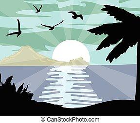 夏, 夜浜, カード, 光景