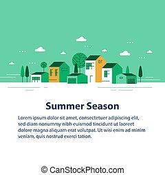 夏, 家, 季節, 緑, 小さい, 横列, ごく小さい, 町, 光景, 近所, 村, 美しい, 住宅の