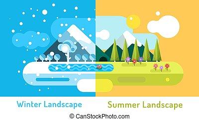 夏, 屋外, 洞穴, 冬, elements., 景色。, 太陽, 抽象的, 自然, 雲, 木, 雪, 花, cold., 湖, 川, デザイン, 氷, サイン, ∥あるいは∥, 山