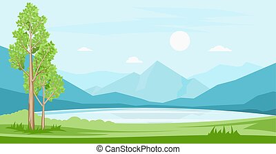 夏, 山, 風景, 湖