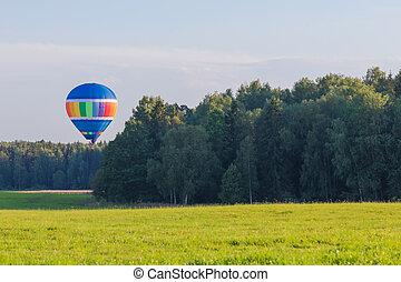 夏, 暑い, 田舎, 旗, balloon, 空気, 上に