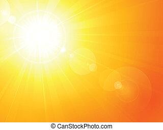 夏, 活気に満ちた, 火炎信号, レンズ, 暑い, 太陽