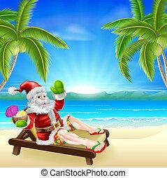 夏, 浜, クリスマス, santa, 現場