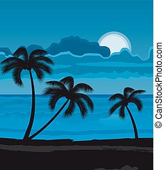 夏, 浜, 夜