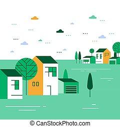 夏, 町, 小さい, 緑, 光景, 季節, 家, ごく小さい, グループ, 美しい, 村, 近所, 住宅の