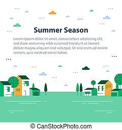 夏, 町, 小さい, 緑, 光景, 横列, 季節, 家, ごく小さい, 美しい, 近所, 村, 住宅の