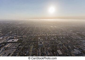 夏, 航空写真, 郡, los, カリフォルニア, スモッグ, アンジェルという名前の人たち