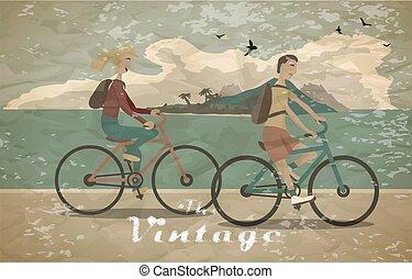 夏, 色, bike., バックパック, style., pedaling, 型, 若い, time., 自転車乗馬, 浜, 平ら, 女, イラスト, レジャー, 人, 健康, 自由, 乗車, ベクトル, 薄れていった