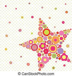 夏, 花, 星, カラフルである, 春, 挨拶, 形, カード