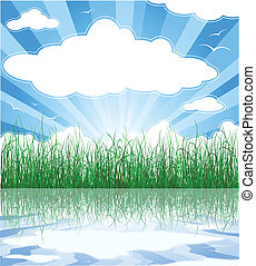 夏, 雲, 日当たりが良い, 草, 背景, 水