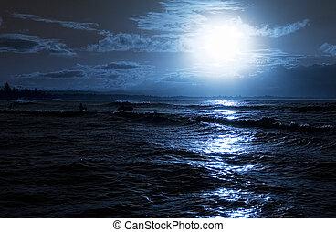 夕方, 浜