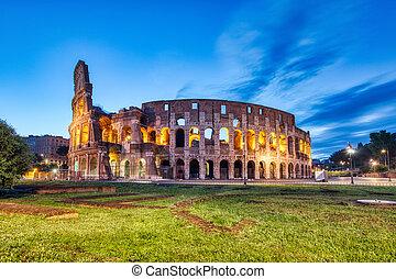 夕闇, ローマ, 照らされた, colosseum