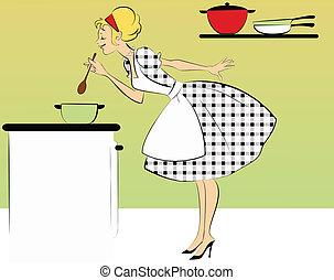 夕食, 料理, 1950s, 主婦