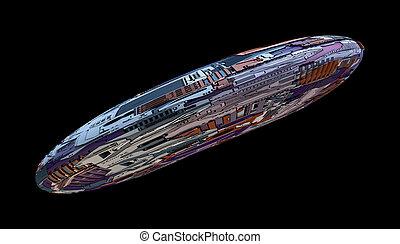 外国人, 宇宙船, 概念, バックグラウンド。, 技術, 隔離された, 未来派, 黒