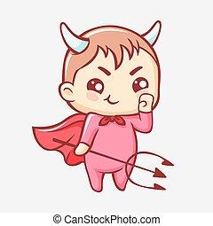 外套, kawaii, わずかしか, cartoon., 赤, かわいい, 微笑, trident., 悪魔, 角