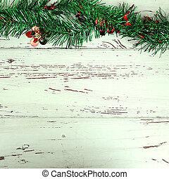 外気に当って変化した, 装飾, 木, 背景, 白い クリスマス