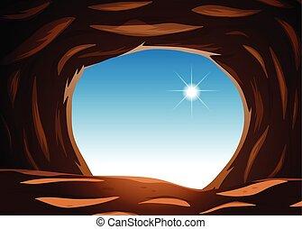 外, 洞穴, 光景