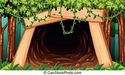 外, 洞穴, 私の, 光景