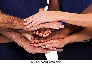 多人種である, 一緒に, 手