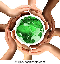 多人種である, 地球の 地球, のまわり, 手