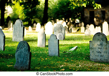 多数, 明るい, 墓地, 日, 墓碑