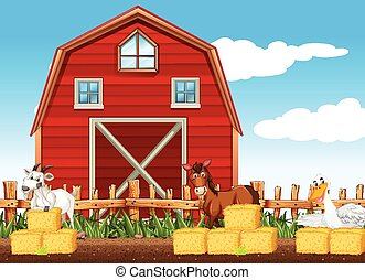 多数, 農場, 納屋, 現場, 動物
