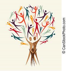 多様性, セット, 木, 人々