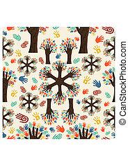 多様性, 手, 木, パターン