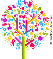 多様性, 教育, 木, 手
