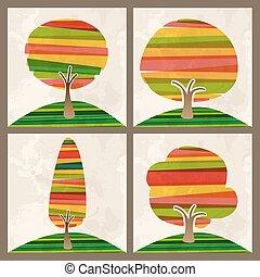 多色刷り, セット, 木